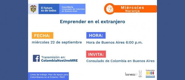 El Consulado de Colombia invita a la charla Emprender en el extranjero, el 22 de septiembre de 2021