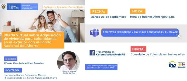 El Consulado de Colombia invita a la charla Adquisición de vivienda para colombianos en el exterior con el Fondo Nacional del Ahorro, el 28 septiembre de 2021