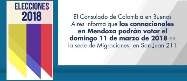 El Consulado de Colombia en Buenos Aires informa que los connacionales en Mendoza podrán votar el domingo 11 de marzo de 2018 en la sede de Migraciones, en San Juan 211