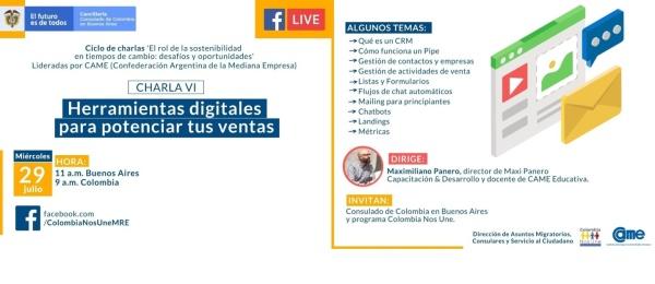 El Consulado de Colombia en Buenos Aires invita a la charla virtual 'Herramientas digitales para potenciar tus ventas', el 29 de julio de 2020