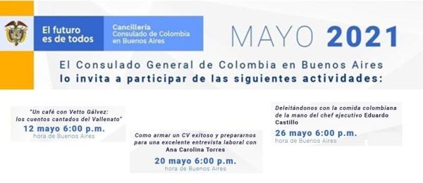 Consulado de Colombia en Buenos Aires invita a las organizas para los connacionales los días 12, 20 y 26 de mayo de 2021
