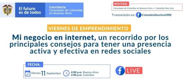 Consulado de Colombia en Buenos Aires invita al Facebook Live sobre emprendimiento para empresarios este 11 de septiembre de 2020