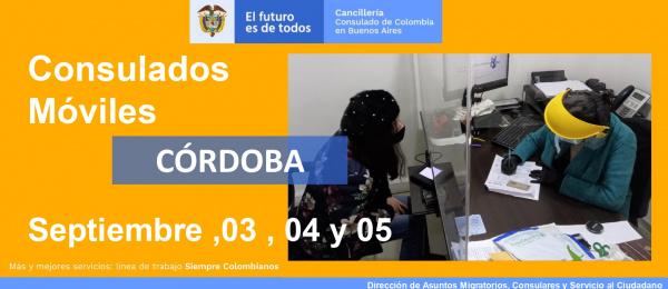 Consulado de Colombia en Buenos Aires realizará la jornada de Consulado Móvil en Córdoba 3, 4 y 5 de septiembre  de 2021