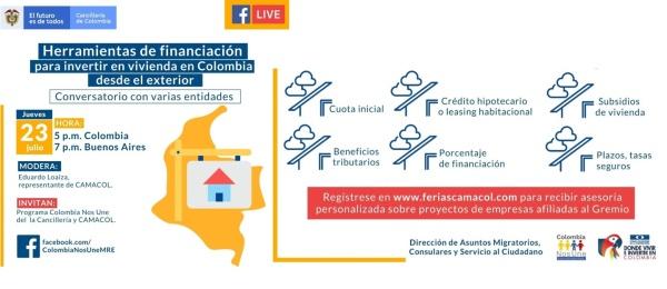 El Consulado de Colombia en Buenos Aires invita al evento virtual 'Herramientas de financiación para invertir en vivienda en Colombia desde el exterior, el 23 de julio de 2020