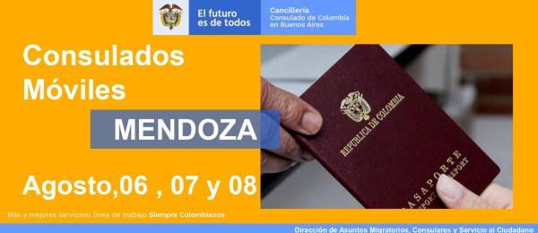 Consulado de Colombia en Buenos Aires realizará una jornada de Consulado Móvil en Mendoza, del 6 al 8 de agosto de 2021